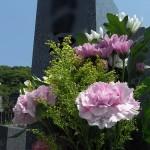 文字をお書きになられた想いのこもった佐賀県産天山石の和型墓石が完成。踏み石部分に可愛らしい桜の彫刻、福岡市東区の三日月山霊園にて
