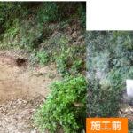 福岡市早良区脇山にて、昔ながらのレンガを使用した大きなお墓をお墓じまい。すべて解体・搬出し、簡単に土留めをして完了